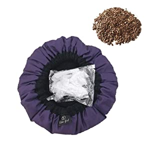 Viowey Cordless Flaxseed Heat Cap Deep Conditioning Heat Cap Microwavable - Natural Cotton Hair Cap Steamer Thermal Cap with 10 Pcs Disposable Shower Caps for Hair Treatment Hair Care (Purple)
