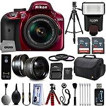 Red Nikon D3400 Digital SLR Camera + 18-55mm AF-S DX Nikkor VR + 2.2X Telephoto and 0.43X Macro Lens Kit + 32GB Memory + Bounce Swivel Flash + Tripod + Padded Bag + UV CPL FLD Filter Bundle + Remote