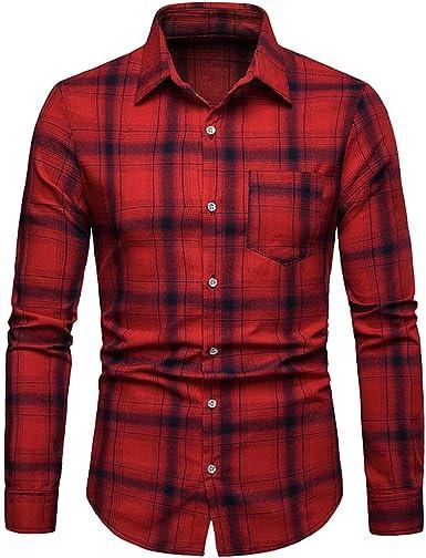 Camisa Hombre Cuadros Manga Larga, Camisa Hombre Invierno con Bolsillo, Camisas De Manga Larga De Negocios A Cuadros De Moda Casual para Hombres: Amazon.es: Ropa y accesorios