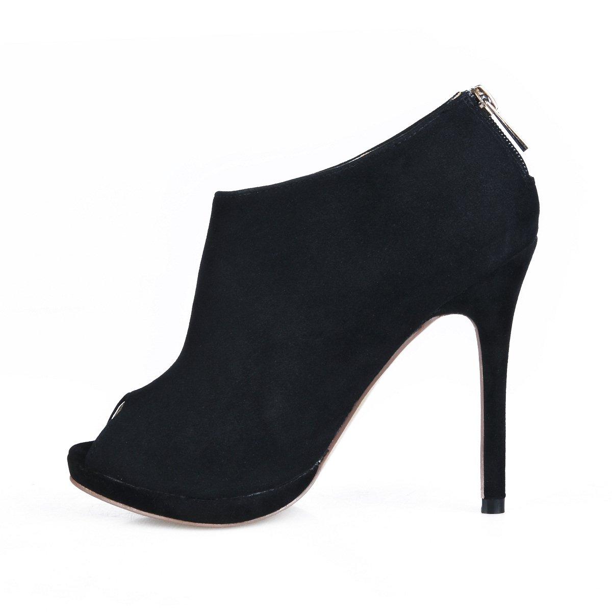 Hohe und Stiefel das Mädchen Herbst neue Produkte im tipp Fisch tipp im Damen Stiefel grosse schwarze Satin fein high-heel Schuhe c73135