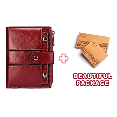 f676af0987 Amazon.com: Wallets Cow Leather Women Wallet Female Red Slim Coin ...