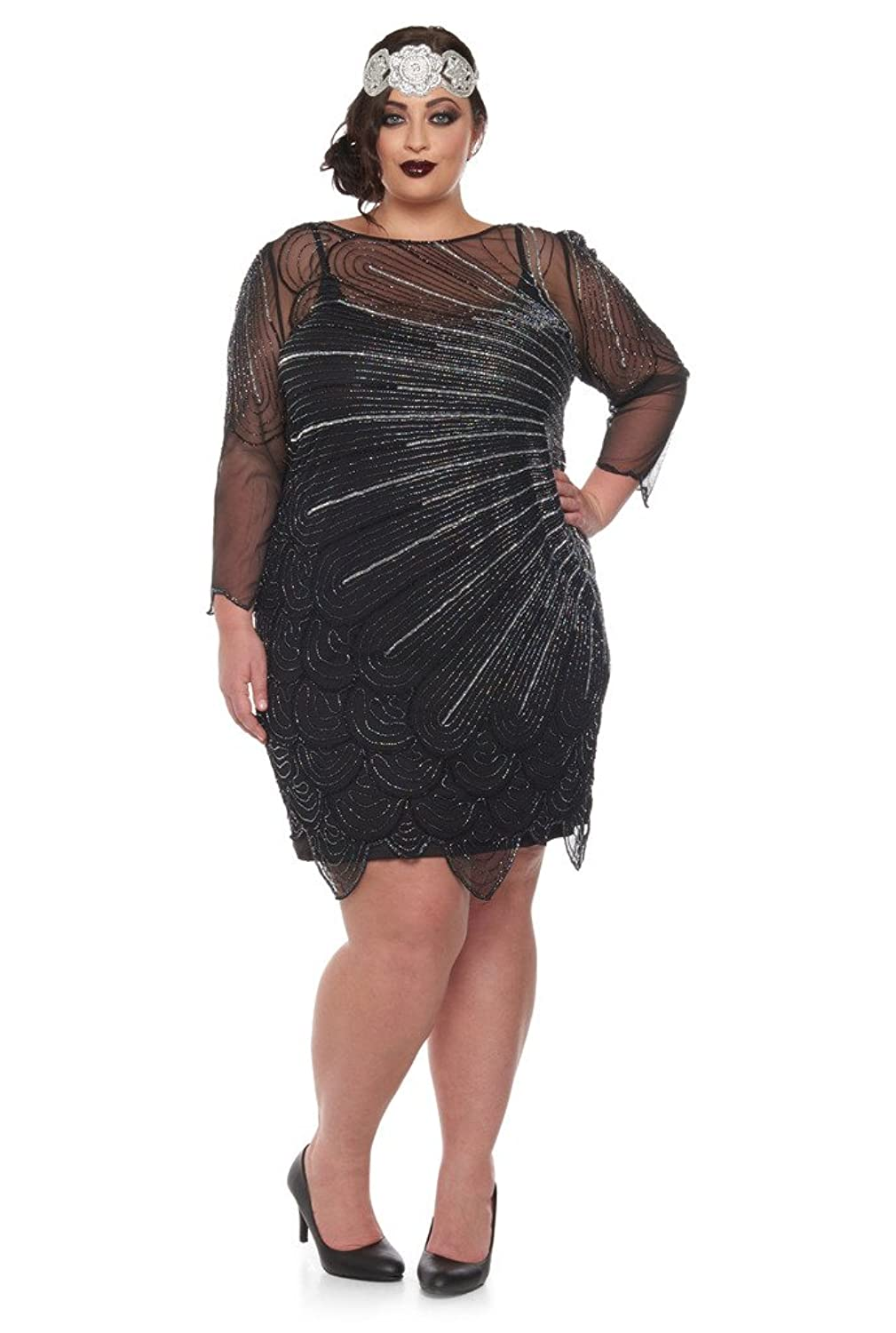 1920s Evening Dresses & Formal Gowns Catherine Vintage Inspired Flapper Dress in Black Silver $105.22 AT vintagedancer.com