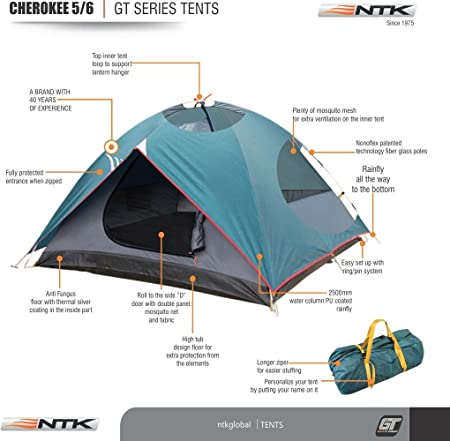 Amazon.com  NTK Cherokee GT 5 to 6 Person 9.8 by 9.8 Foot Outdoor Dome Family C&ing Tent 100% Waterproof 2500mm Easy Assembly Durable Fabric Full ...  sc 1 st  Amazon.com & Amazon.com : NTK Cherokee GT 5 to 6 Person 9.8 by 9.8 Foot Outdoor ...