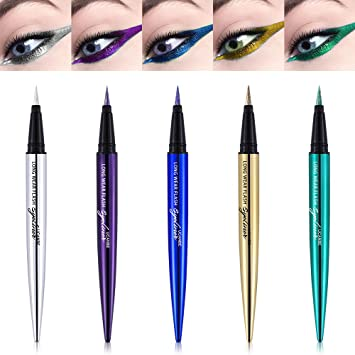 4e3af2f4b13 Amazon.com : Glitter Diamond Pro Smooth Eyeliner Pen Shimmer Pigmented  Eyeshadow Pencil Eye Gel Waterproof Beauty Makeup, 01 : Beauty