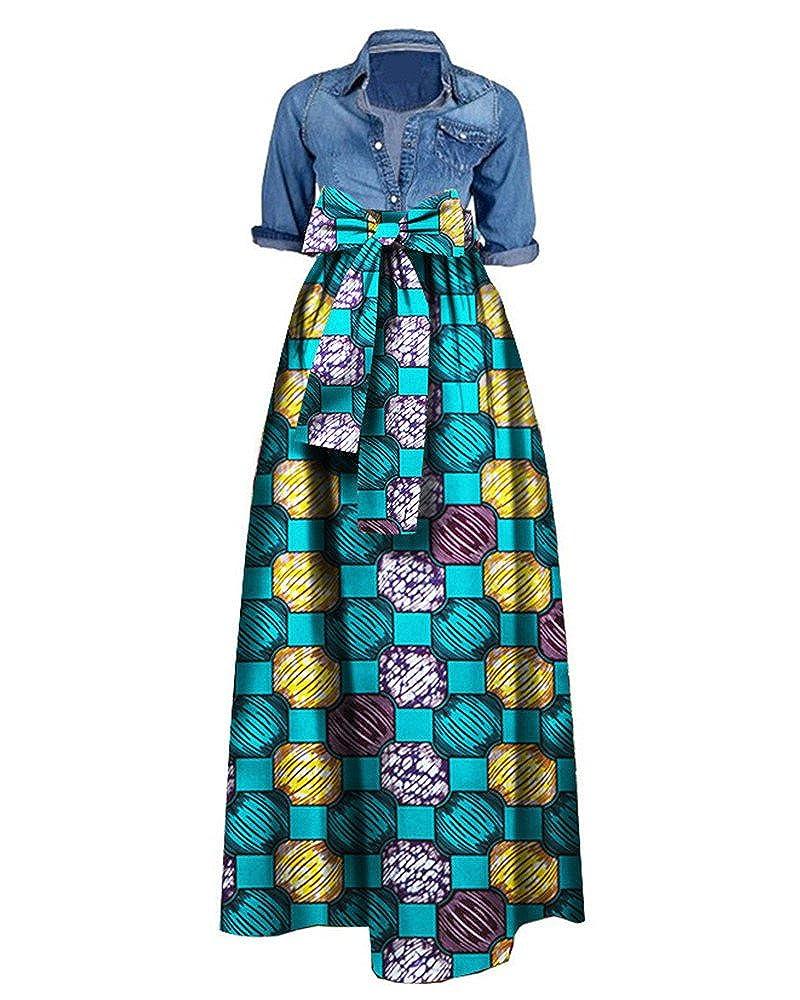 8be619db0b3 Bigyonger Women African Print Dashiki Skirt A Line High Waist Ball Gown Plus  Size Maxi Dress at Amazon Women s Clothing store