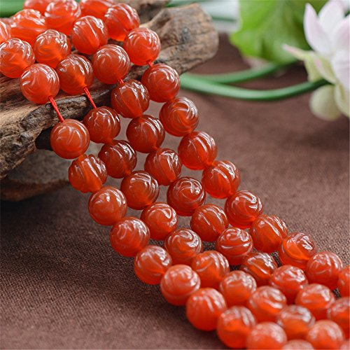 Grade AA Natural Red Agate Beads Double Facets Carved Rose 8mm-12mm 15 Inch Strand AG28