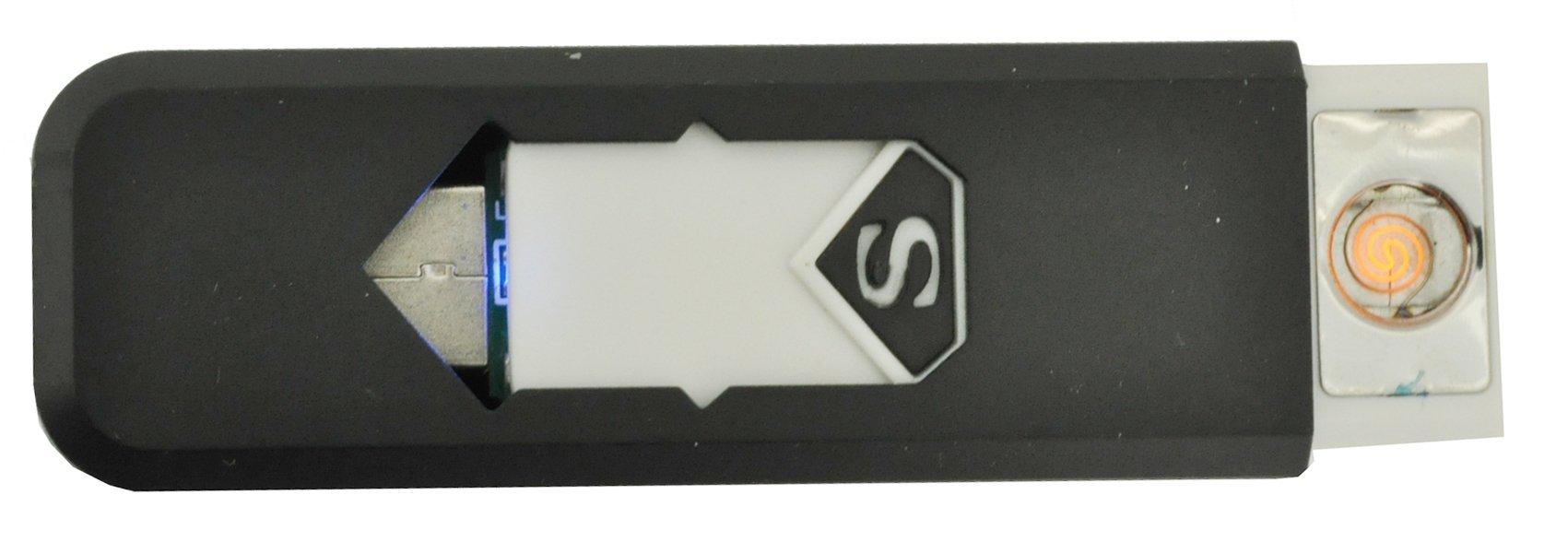Superman Flameless Pilot Cigarette Lighter, Rechargeable Electronic Flameless USB Lighter (Black)