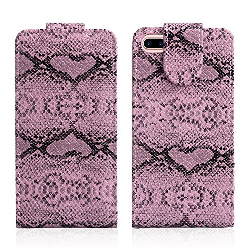 Snake Texture Up-down Open Leather Cell Phone Tasche Hüllen Schutzhülle Case für iPhone 7 Plus - Pink