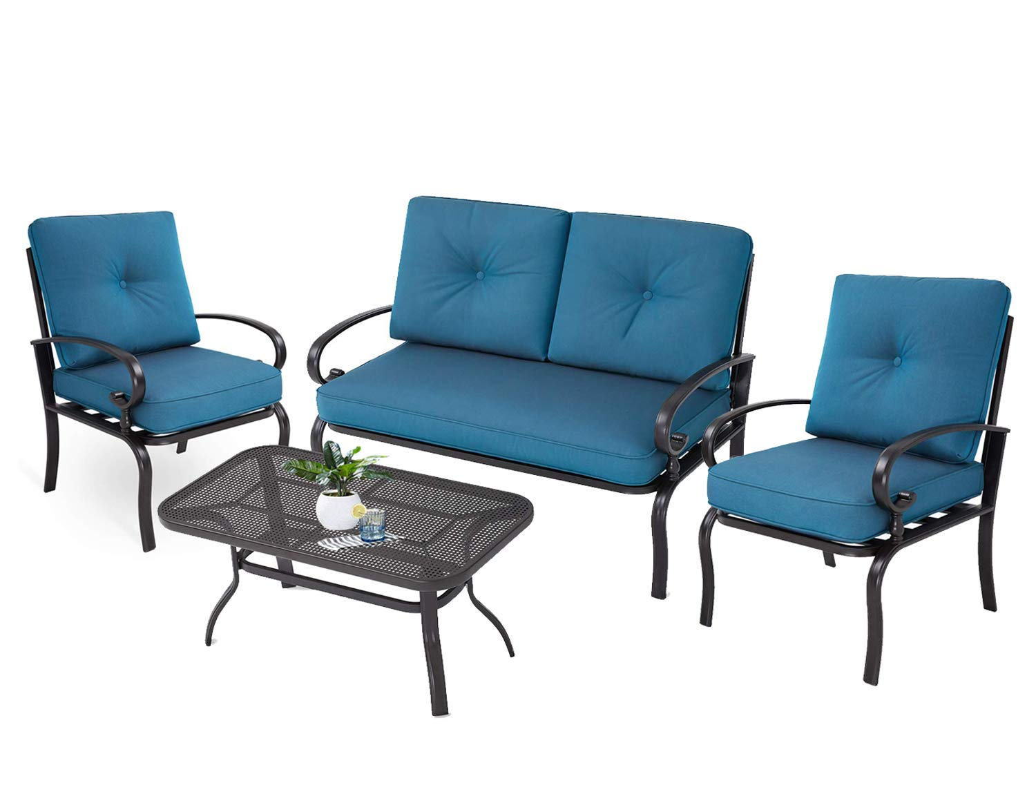 Incbruce Outdoor Patio Furniture Conversation Set Loveseat, 2 Chairs, Coffee Table with Cushion, Lawn Front Porch Garden, Wrought Iron Frame, Peacock Blue