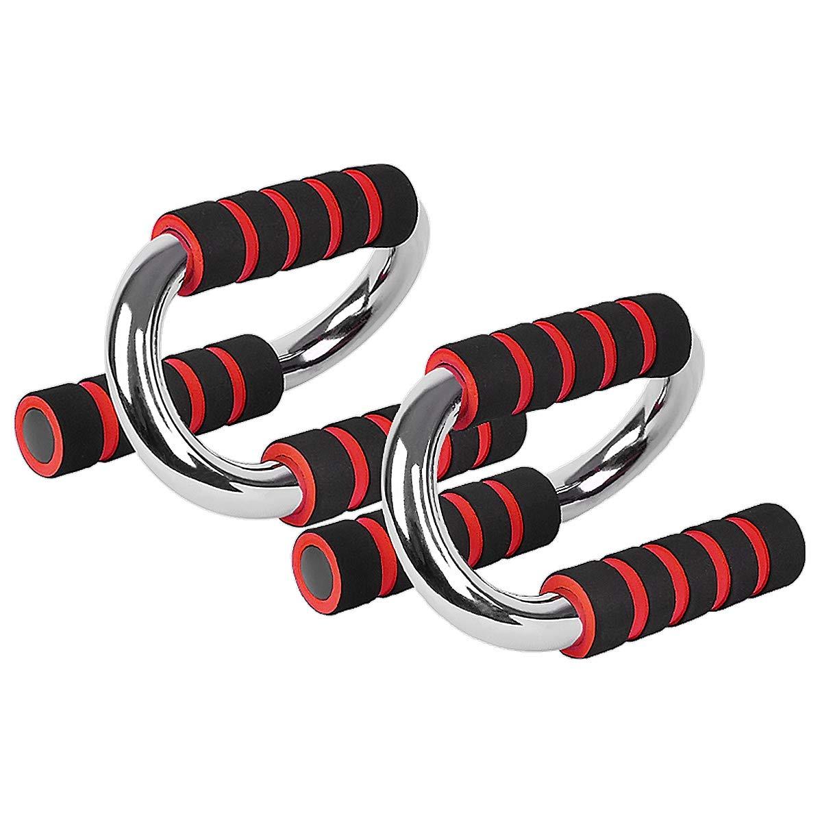 Merdia Push Up Bars Soportes para Flexiones Stands para manijas Push Up con Agarre de Espuma c/ómodo y Asas Antideslizantes Set-S Shape