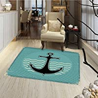 Anchor Bath Mats for floors Vintage Style Anchor Design with Wave Water Color Antique Nostalgic Sea Sign Bath Mat Bathroom Mat with Non Slip 30x48 Teal Black Yellow