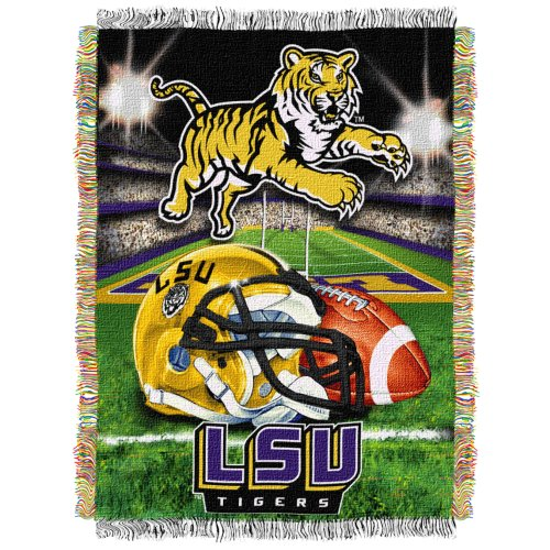 The Northwest Company Officially Licensed NCAA LSU Tigers Home Field Advantage Woven Tapestry Throw Blanket, 48