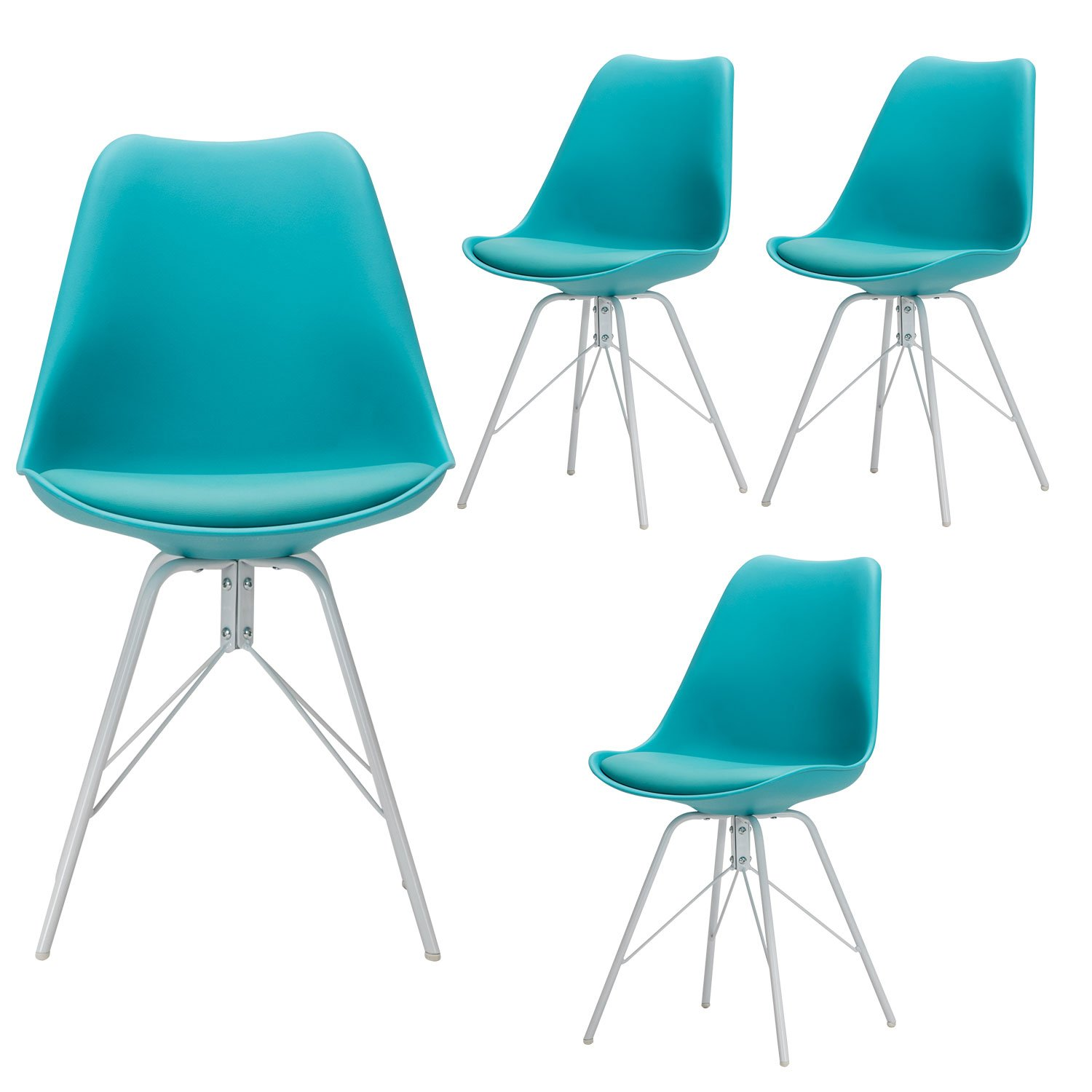 Yurucy office dining chairs kitchen candy color furniture chair set of 4 side white metal assembled legs chair can be place in office living room