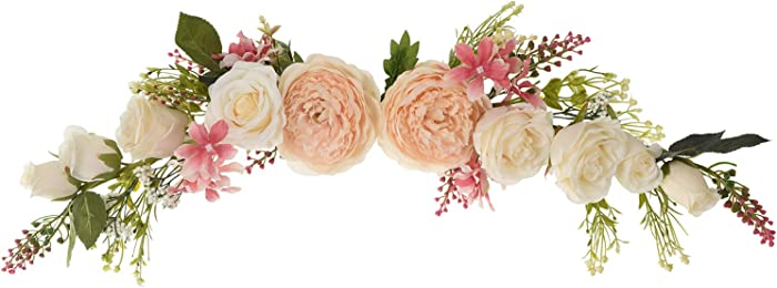 Lvydec Artificial Peony Flower Swag, 25 Inch Decorative Swag with Champagne Peony White Rose and Green Leaves for Wedding Arch Front Door Wall Decor