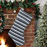 S-DEAL Wool Christmas Stocking Gift Holder Double 21 Inch Knitted Layers Mantel Decoration for Party Holiday Xmas Black White and Grey