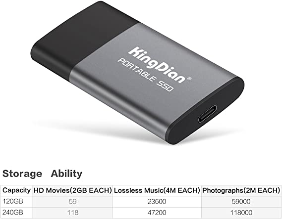 Kingdian 120gb External Ssd Usb 3 0 3 1 Portable Solid Computer Zubehör