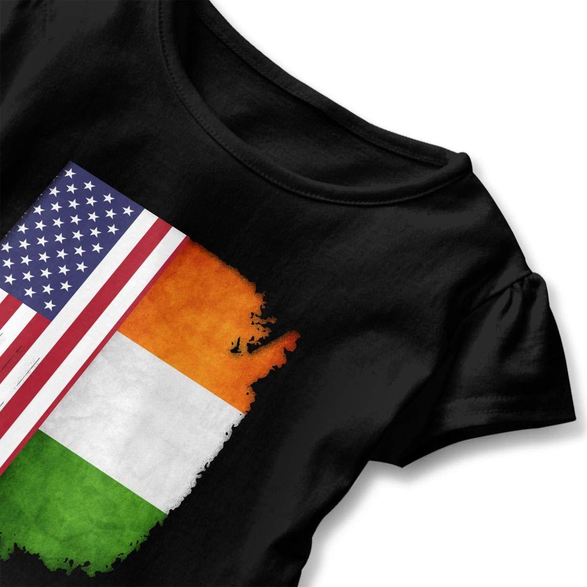 SHIRT1-KIDS Irish American Flag Shirt Toddler//Infant Girls Short Sleeve Ruffles Shirt T-Shirt for 2-6 Toddlers