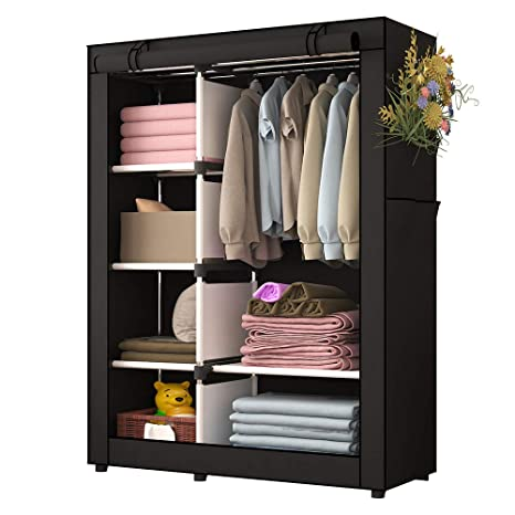 Amazon.com: UDEAR Portable Clothes Closet Wardrobe Storage Organizer With  Shelves And Side Pockets Black: Kitchen U0026 Dining