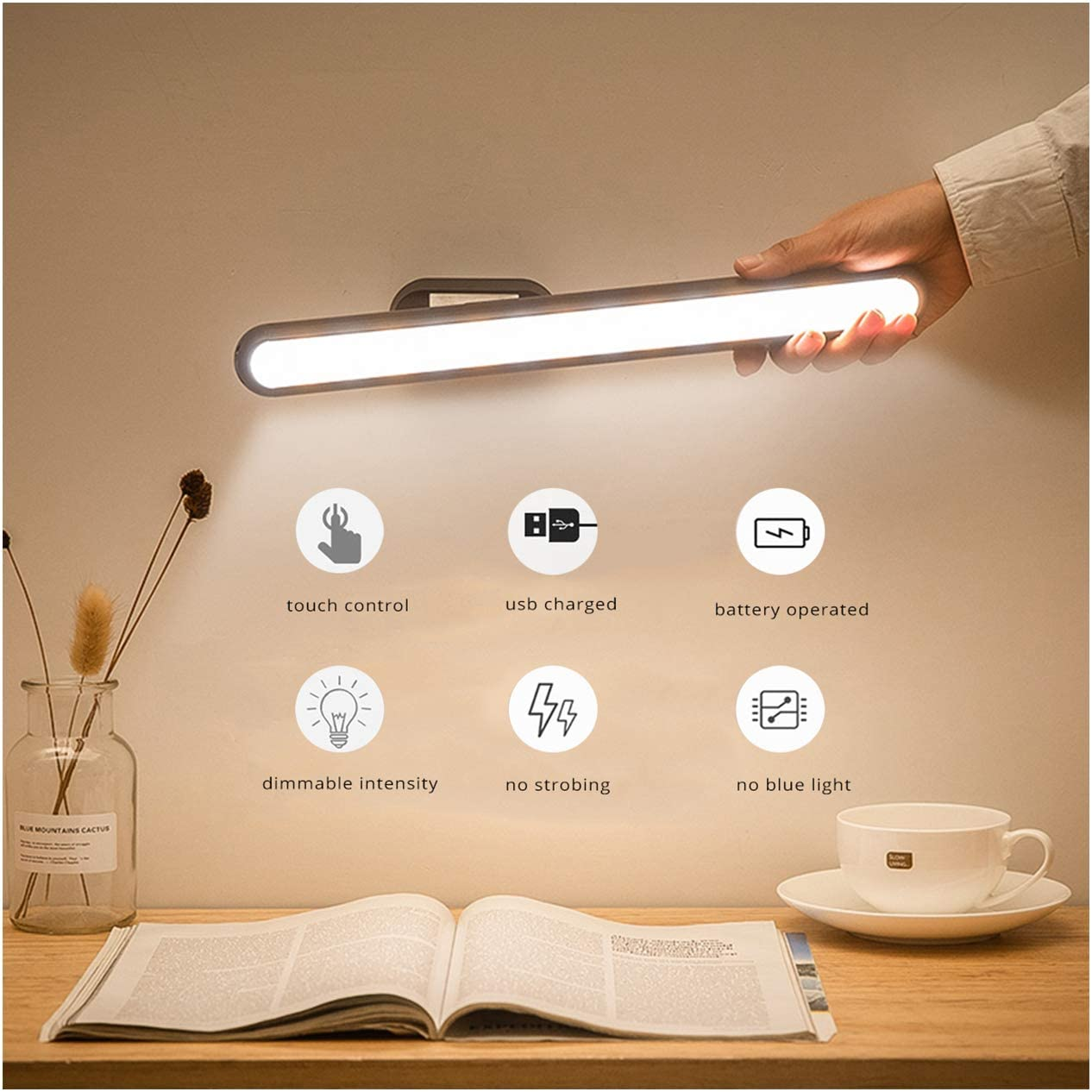 Rechargeable Dormitory Book Reading Lam Semlos Stepless Dimming LED Strip Light