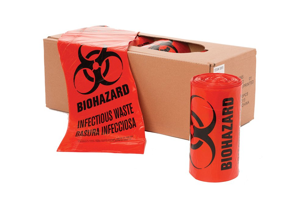 40'' x 46'' x 1.3 mil 40 to 45 Gallon Red Plastic Biohazard Infectious Waste Can Liners (10 bags/roll, 10 rolls/case)