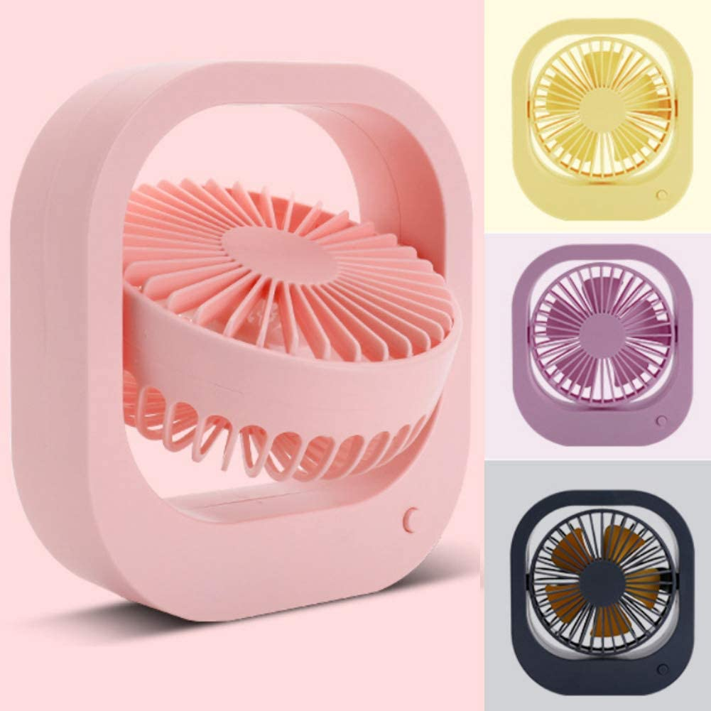 Yellow Shentesel Cooling Fan Rotary USB Rechargeable Handheld Home Office Desktop Cooler