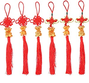 Yiphates 6Pcs 2021 Year of Ox Hanging Ox Pendant Car Bag Pendant Decor Chinese Commemorative Souvenir Gift Feng Shui Hanging Good Luck with Chinese Knot