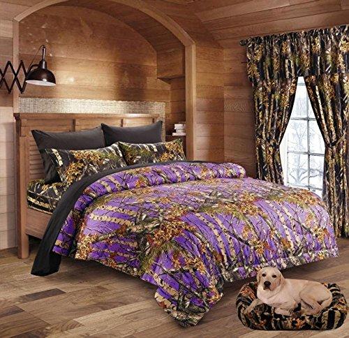- 20 Lakes Purple Primitive Rustic Woodland Camo Comforter and Sheet Set (Purple/Black, Cal King)