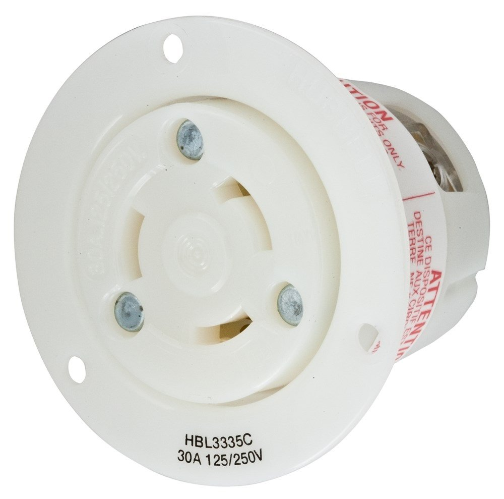 Hubbell Wiring Systems HBL3335C WP2 Insulgrip Twist-Lock Wall Plate Flanged Receptacle Weatherproof Cover, 30 Amp, 125/250VAC, 3 Pole, 3 Wire, Non-Grounding, 2-7/8'' Diameter x 2-51/64'' Length, White