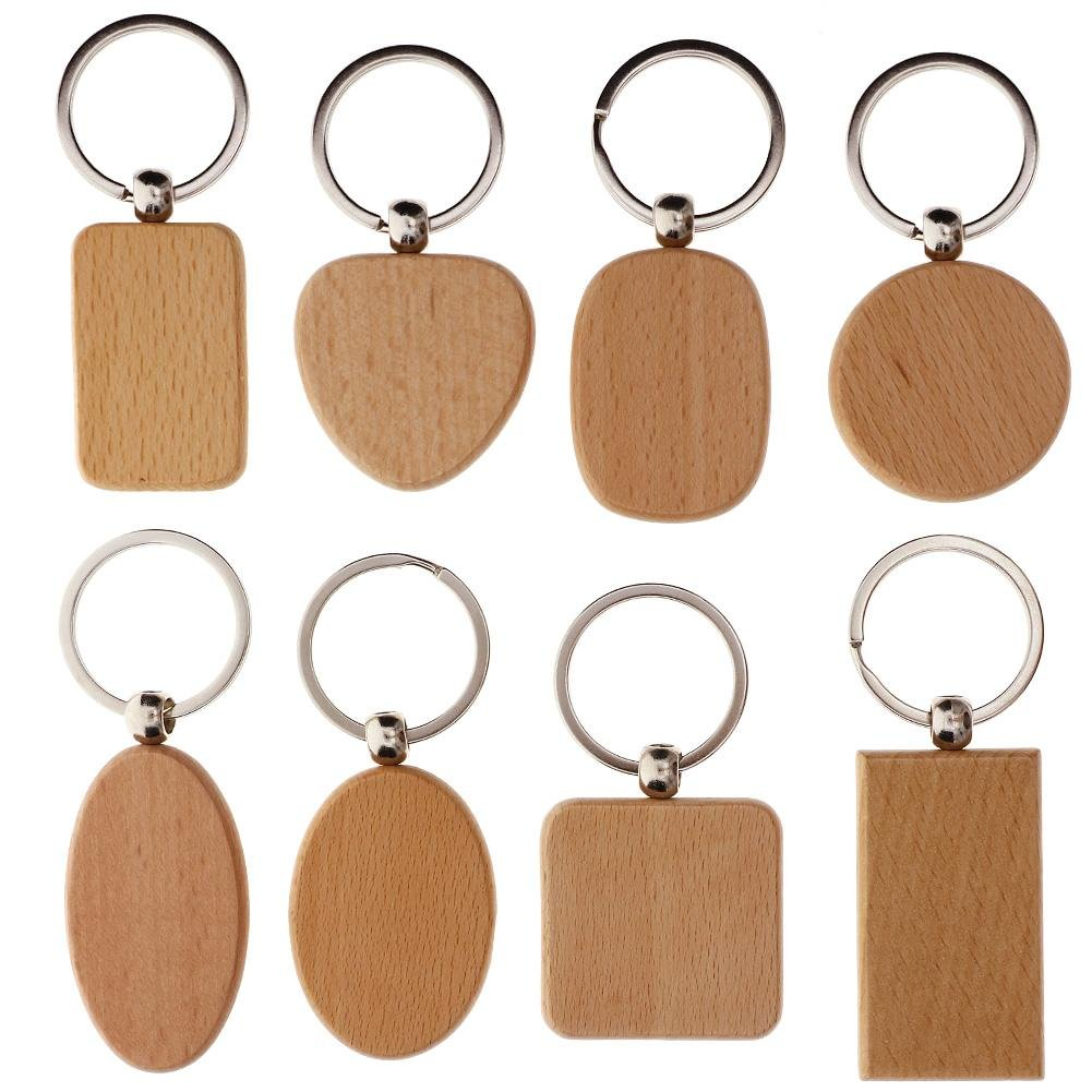 TR.OD DIY Blank Wooden Key Chain Personalized EDC Wood Keychains Best Gift