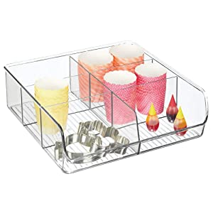 mDesign Plastic Extra Wide Food Storage Organizer Bin Caddy for Kitchen, Pantry, Cabinet, Countertop - Holds Baking Supplies, Spices, Pouches, Dressing Mixes, Tea, Sugar Packets, 6 Sections - Clear