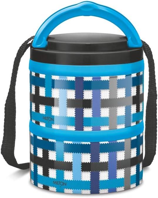 mikrowellengeeignet Blue Checkers 3-st/öckig isoliert 2 Ablagef/ächer MILTON Homery 4205 Lunchbox aus Edelstahl Plastik
