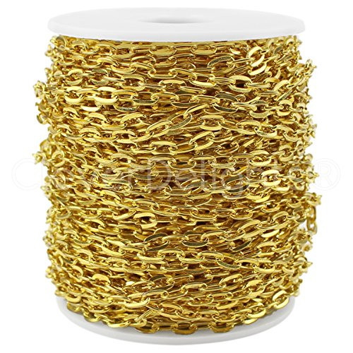 CleverDelights Cable Chain Spool - 30 Feet - Gold Color - 5x7mm Link - 10 Meters - Bulk Roll