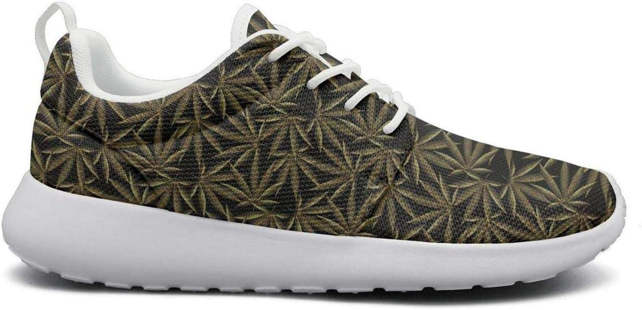 Eoyles gy Cannabis Leaf Attractive Women Slip Resistant Lightweight Running Shoes