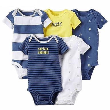 ARAUS Lot de 5 Unisexe Bébé Manches Courtes Body à en Coton Body bébé  Grenouillères Coton c37bdcd3095