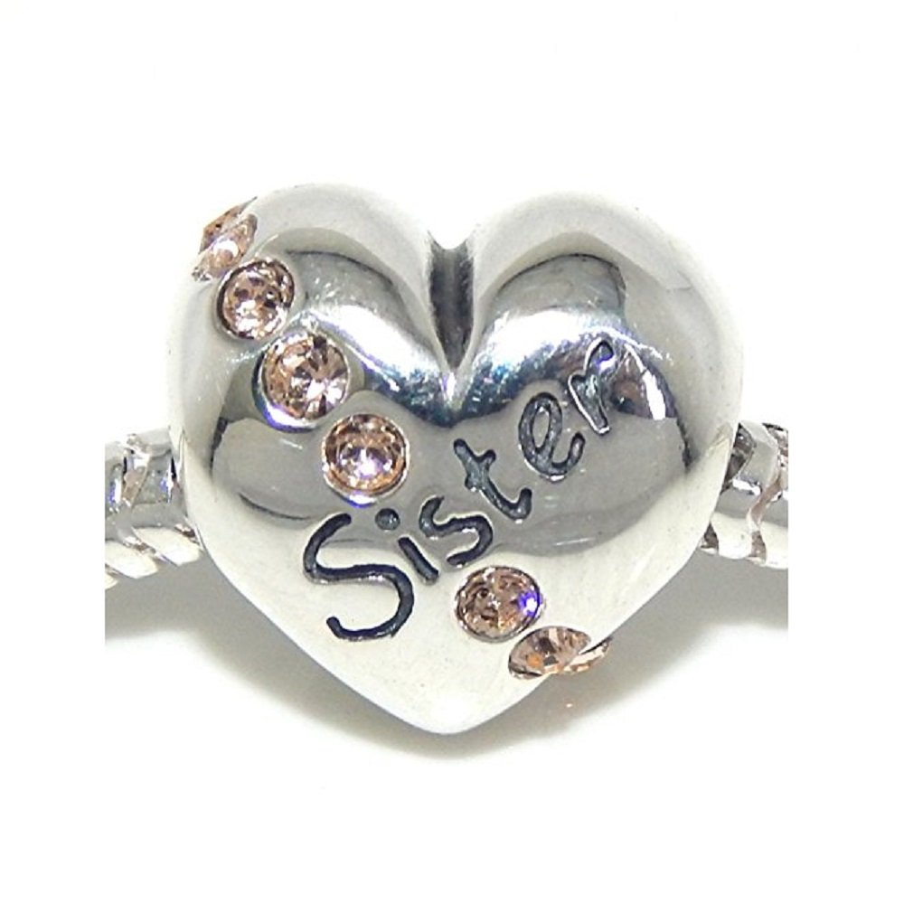 Solid 925 Sterling Silver Sister Heart with Light Brown CZ Charm Bead 225 for European Snake Chain Bracelets