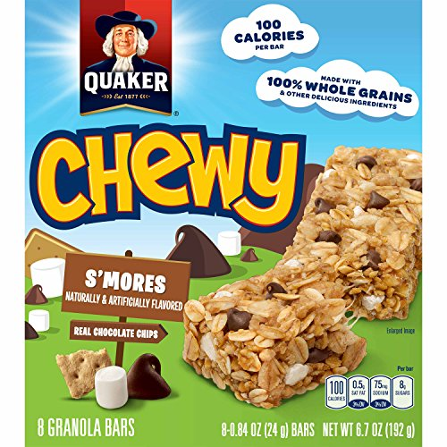 - Quaker Chewy Granola Bar, S'mores, 8-Count Bars (Pack of 12)(Packaging may vary)