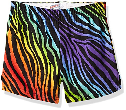 (Soffe Girls' Big Authentic Cheer Short, Rainbow Zebra, Small)
