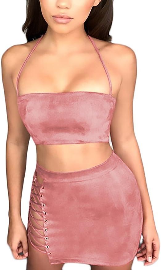Mujer Conjuntos De Crop Top Y Faldas Cortas Elegantes Vintage ...