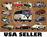 Volkswagen VW Beetle Bus Karmann Ghia brown bkgrnd POSTER 34 x 23.5 with 12 vintage models (sent FROM USA in PVC pipe)