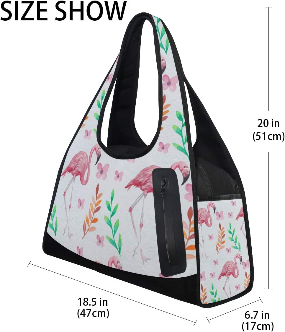 Merry Christmas Pink Flamingo Pattern Women Sports Gym Totes Bag Multi-Function Nylon Travel Shoulder Bag