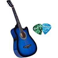 Photron Acoustic Guitar, 38 Inch Cutaway, PH38C/TBS with Picks Only, Blue Sunburst (Without Bag, Strap and Extra Strings)