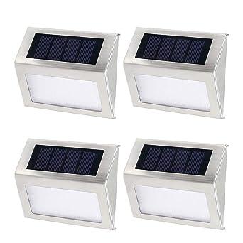4X Luces Solares de Jardin,Luz Solar de escaleras,Foco Solar de Valla Jardin