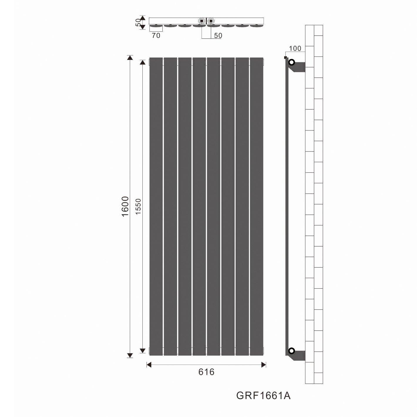 Design Flach Heizk/örper 1800x616mm Wei/ß Paneelheizk/örper Vertikal Mittelanschluss Doppellagig