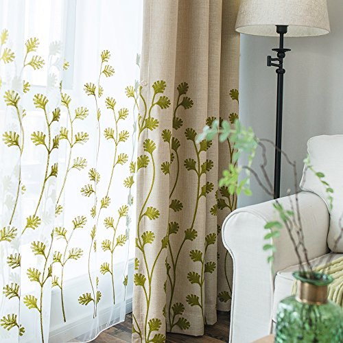 Melodieux Plant Embroidery Sheer Window Rod Pocket Top Voile Curtains for Patio 100 by 84 Inch White/Green 1 ()