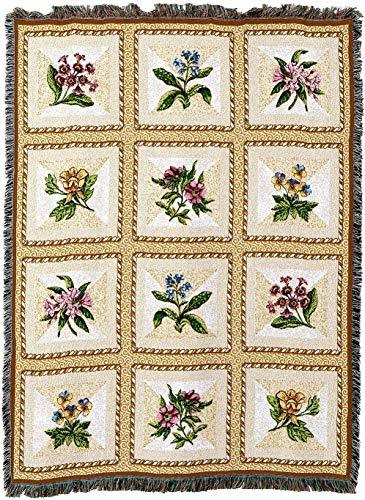 Pure Country Weavers - French Floral Flower Gift Woven Tapestry Throw Blanket with Fringe Cotton USA 72x54