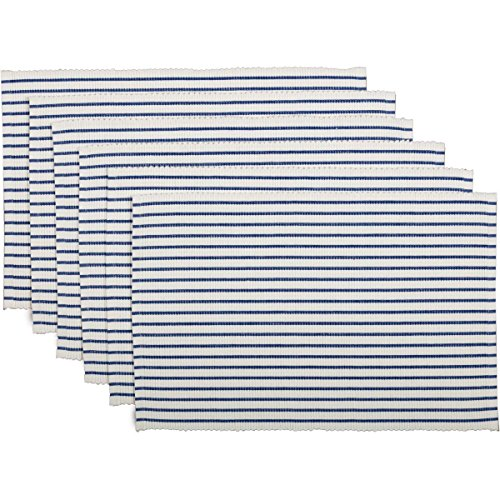 VHC Brands Americana Farmhouse Tabletop & Kitchen - Audrey Ribbed Placemat Set of 6, One Size, Blue