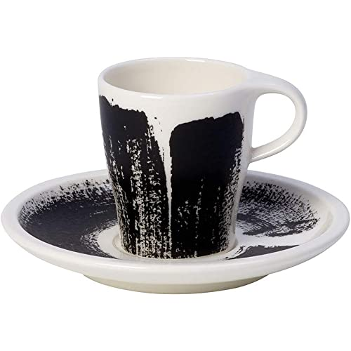 Villeroy und Boch Espresso-Set, Schwarz und Weiß, Premium Porzellan