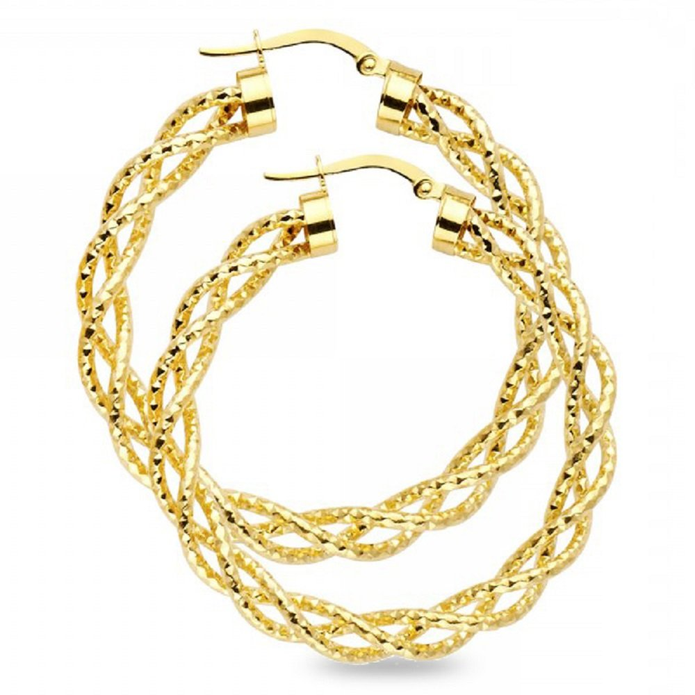14k Yellow Gold Round Hoops Twisted Braided Earrings Diamond Cut Polished Finish Two Tone 40 x 3 mm