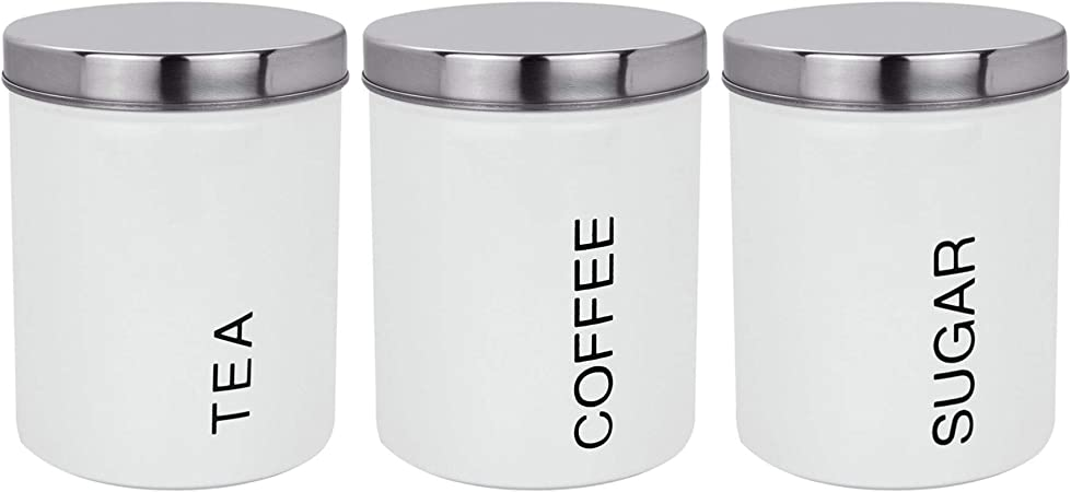 Harbour Housewares 3 Piece Contemporary Tea Coffee Sugar Canister Set Steel Kitchen Storage Caddy With Rubber Seal White 10cm
