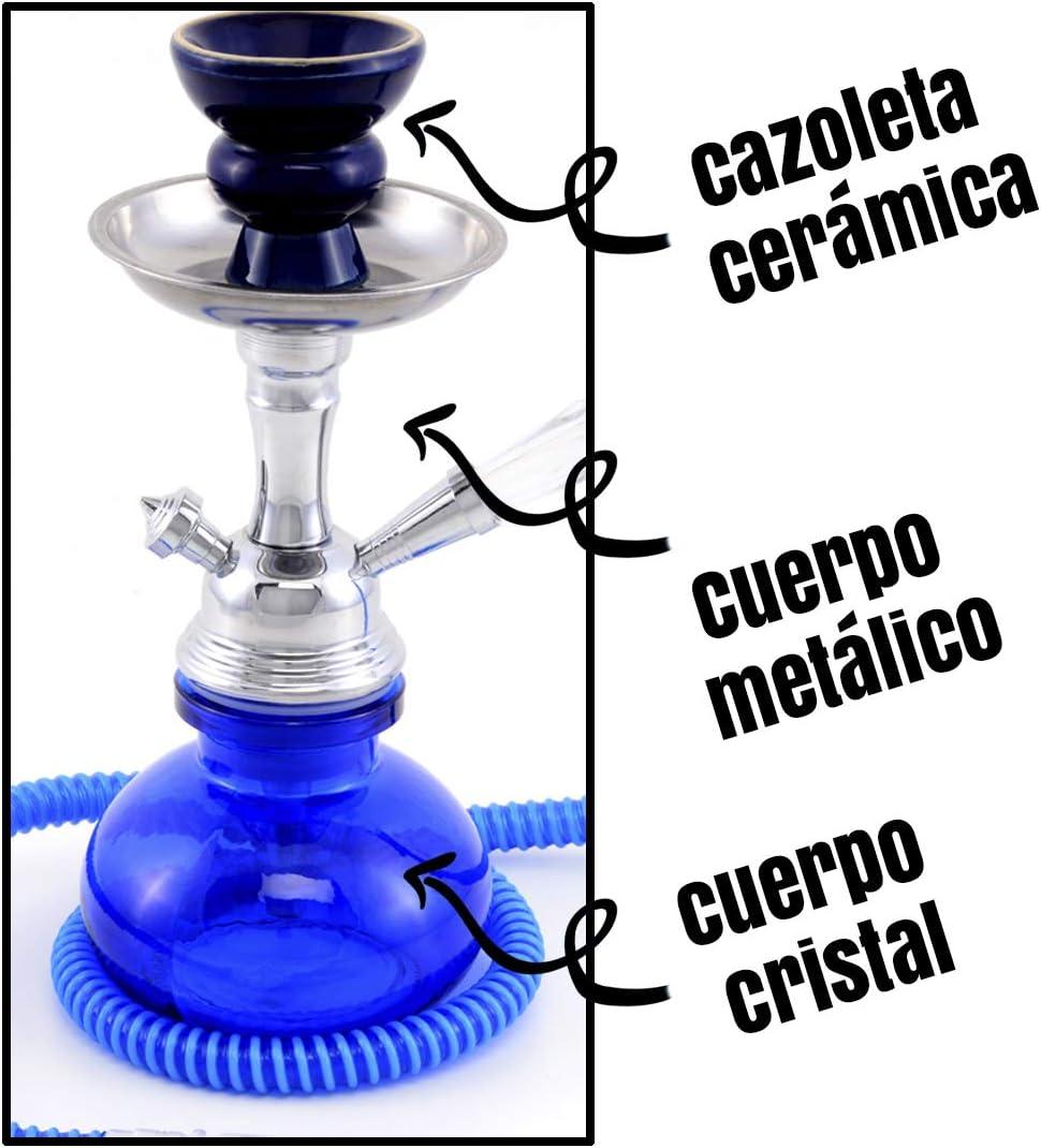 MADGROW. Cachimba Basic Cristal Liso y Cuerpo metálico. 25cm 1 Manguera acrílica. Azul. Incluye Pack10 Pastillas carbón, 5 boquillas XL, Cazoleta ...